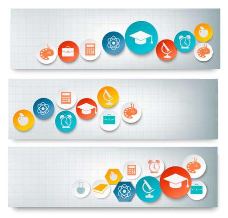 fondo de graduacion: Conjunto de banderas de educación con iconos Vector