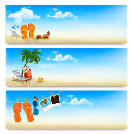 Tres banderas de vacaciones de verano. Vector.