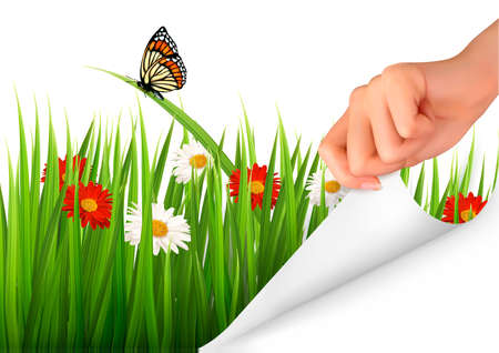Spring background with flowers, grass and a hand  Vector   Illustration