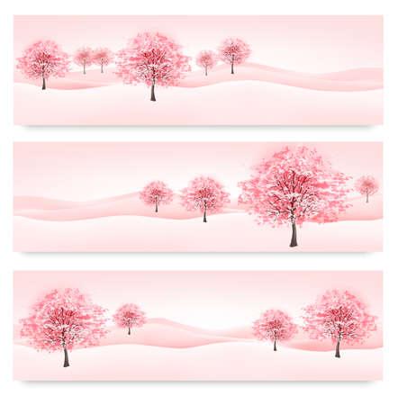 Drie voorjaar banners met bloeiende sakura bomen. Vector.