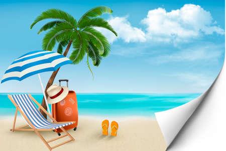 Playa con palmeras y sillas de playa. Verano concepto de fondo de vacaciones. Vector. Ilustración de vector