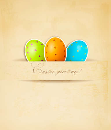 Easter retro background with eggs. Vector.  Vector