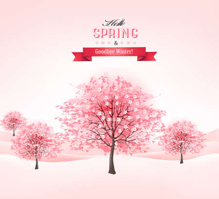 Spring background with blossoming sakura trees. Vector.  Vector