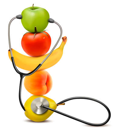 diet: Fruit with a stethoscope. Healthy diet concept. Vector.  Illustration