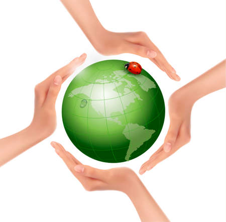 Hands holding a green earth with a ladybug. Vector.  Vector