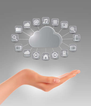 cloud computer: Cloud storage concept background with a hand. Vector illustration. Illustration