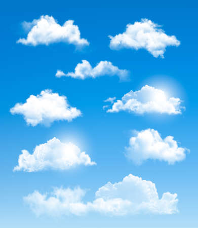 fluffy clouds: Set of transparent different clouds. Vector.  Illustration