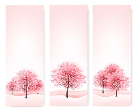 꽃이 만발한: 꽃이 만발한 벚꽃 나무 3 봄 배너입니다. 벡터입니다.