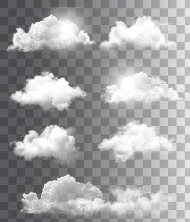 Conjunto de nubes transparentes diferentes. Vector. Foto de archivo - 27322677