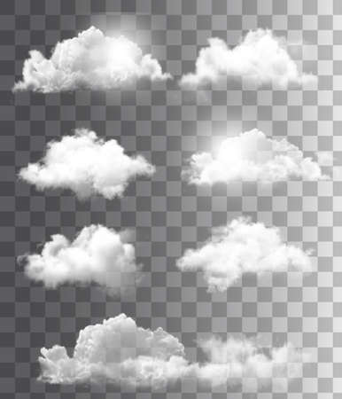 Set of transparent different clouds. Vector.  Ilustração