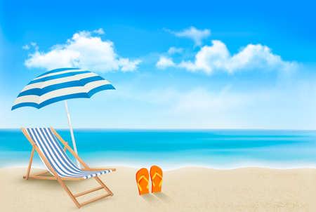 Opinión de la playa con un paraguas, sillas de playa y un par de chanclas. Concepto de las vacaciones de verano de fondo. Vector.
