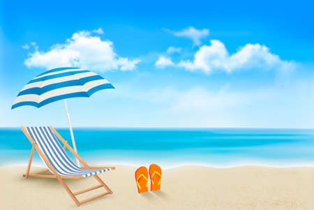 Seaside view with an umbrella, beach chair and a pair of flip-flops. Summer vacation concept background. Vector.  Vettoriali
