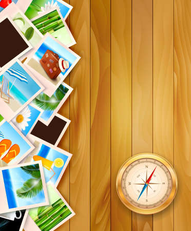 travel collage: Travel photos and compass on wood background. Vector illustration.