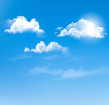 구름과 푸른 하늘입니다. 벡터 배경입니다.