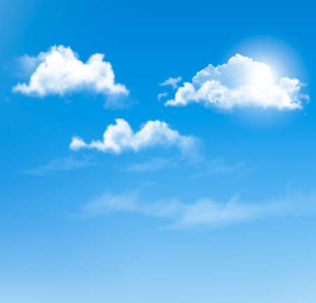 Blue sky with clouds. Vector background. Фото со стока - 27322685