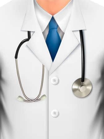 Close up of a doctors lab white coat and stethoscope  Vector illustration  Ilustracja