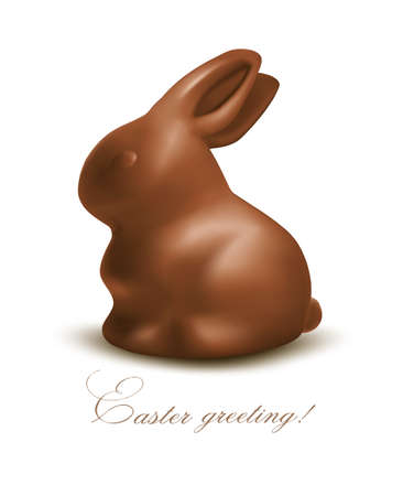 brown hare: Holiday Easter background with Chocolate bunny  Vector