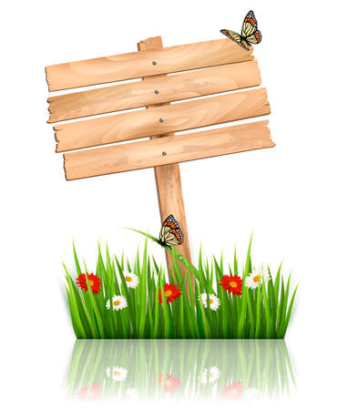 Nature background with green grass and flowers and wooden sign Vector   Vector