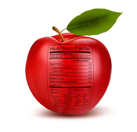 Apple with nutrition facts label  Concept of healthy food  Vector   Illustration