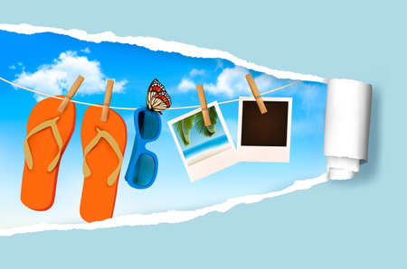 flops: Flip flops, sunglasses and photo cards hanging on a rope  Summer memories background  Vector   Illustration