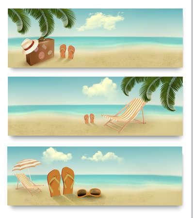 三个复古暑假横幅矢量