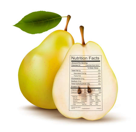 Pear with nutrition facts label. Concept of healthy food. Vector.