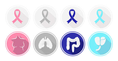 Set of flat design Cancer and human organ icons. Vector Vector