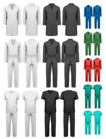 back belt: Juego de guardapolvos con el trabajador y la ropa m�dica. Dise�o de la plantilla. Ilustraci�n del vector.
