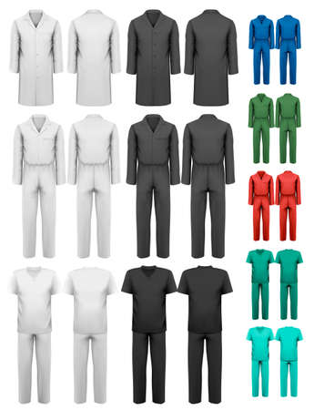 suit  cuff: Set of overalls with worker and medical clothes. Design template. Vector illustration.