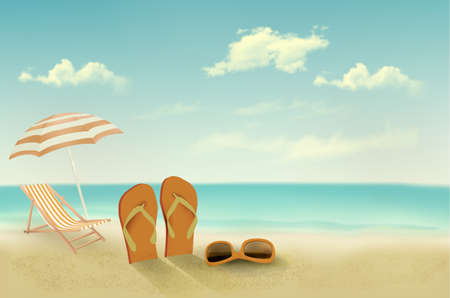 flops: Retro summer vacation background. Vector