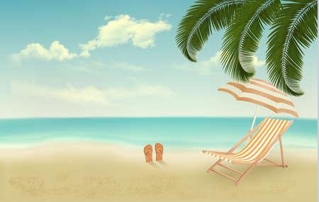 flops: Retro summer vacation background. Vector