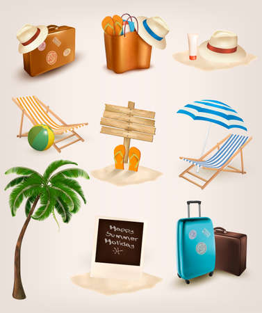 flops: Set of vacation related icons. Vector.  Illustration