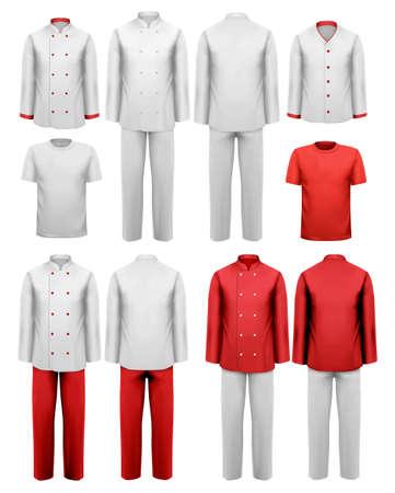 ropa trabajo: El conjunto de varios ropa de trabajo. Ilustraci�n del vector.