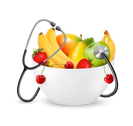 Fruit with a stethoscope. Healthy diet concept. Vector.  Vector