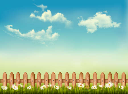 Retro background with a fence, grass, sky and flowers. Vector. Vector