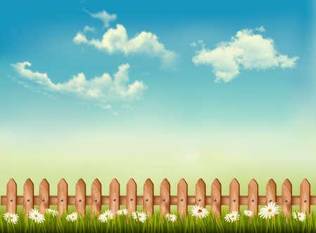 prato e cielo: Sfondo retr� con una recinzione, erba, cielo e dei fiori. Vector. Vettoriali