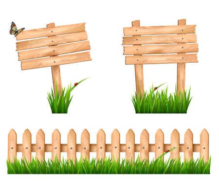barrera: Dos muestras de madera y una valla con hierba. Vector. Vectores