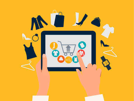 E ショッピング概念。ショッピングのアイコンとタブレットに触れて手。ベクトル。  イラスト・ベクター素材