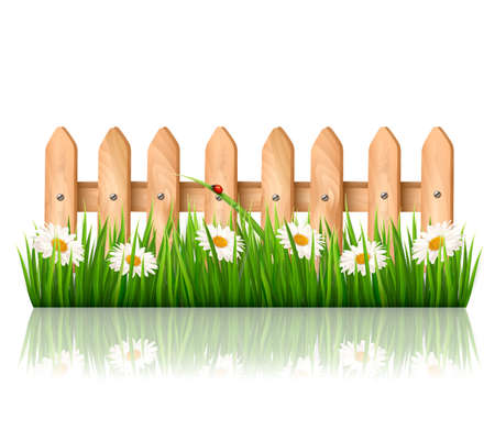 wooden fence: Background with a wooden fence with grass, flowers and butterflies. Vector.  Illustration