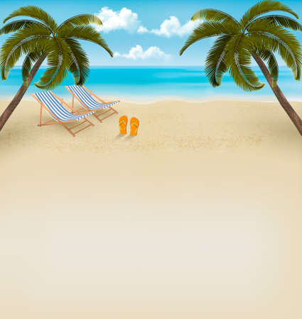 Vacation background. Beach with palm trees and flip flops. Vector.