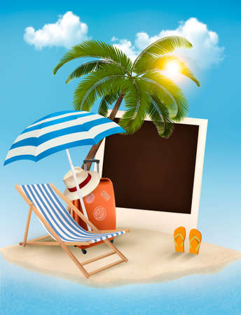 Beach with a palm tree, a photograph and a beach chair. Summer vacation concept background. Vector.  Vector