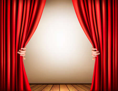 window curtains: Background with a stage and a curtain. Vector.