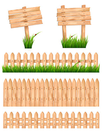 picket fence: Set of wooden signs and a fences with grass. Vector.