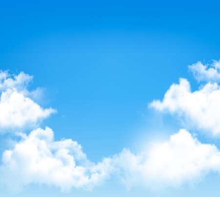 Achtergrond met blauwe lucht en de wolken. Vector. Stock Illustratie