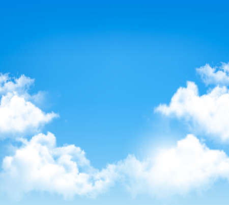 Background with blue sky and clouds. Vector. Çizim