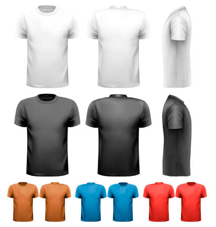 tshirts: Colorful male t-shirts. Design template. Vector.