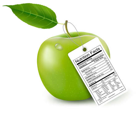 box weight: An apple with a nutrition facts label. Vector.