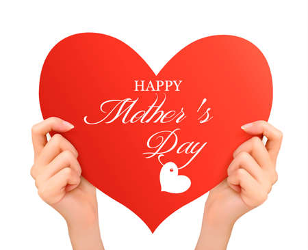 mothering: Mother day background Two hands holding red heart.Vector Illustration