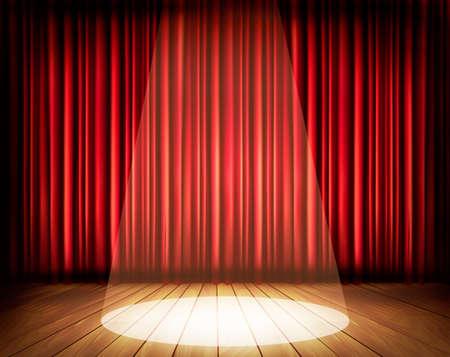 Scena teatralna z czerwoną kurtyną i centrum. Wektor.