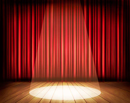 A theater stage with a red curtain and a spotlight. Vector.  Vectores